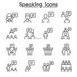 Talk, speech, discussion, dialog, speaking, chat, conference, meeting icon set in thin line style stock illustration