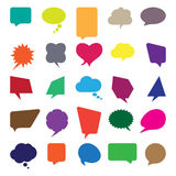 Talk and think comics bubbles. Silhouettes set for communication Stock Images