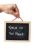 Talk to the hand Stock Photos