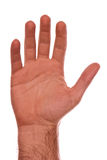 Talk to the hand. Mans hand upright showing palm with fingers up Royalty Free Stock Images
