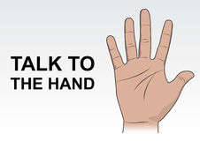 Talk to the hand vector illustration. Rgb mode Stock Photos