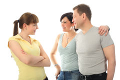 Talk to parents. Happy family: parents with their adult daughter Stock Image