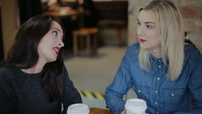 Talk of two girls in coffee shops stock video footage