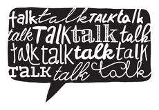 Talk word texture over speech bubble Royalty Free Stock Image