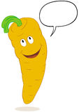 Talkative carrot cartoon. Talking carrot cartoon character with speech bubble. No gradients Stock Images