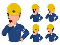 Talkie dos walkies do uso do coordenador ilustração stock