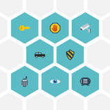 Talkie - walkie plat d'icônes, vision, coffre-fort et d'autres éléments de vecteur L'ensemble d'obtenir des symboles plats d'icôn Image libre de droits