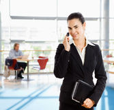 Talkin de la empresaria en el teléfono móvil Imágenes de archivo libres de regalías