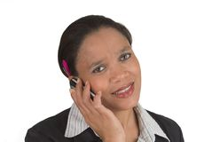Talking. Woman using her mobile phone Royalty Free Stock Image