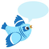 Talking Blue Bird. Vector Illustration on a White Background. Talking Bird Toy. Stock Images