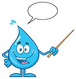 Talking Blue Water Drop Cartoon Mascot Character Using A Pointer Stick With Speech Bubble Royalty Free Stock Image