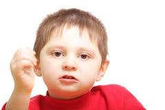 Talking boy closeup Stock Photography