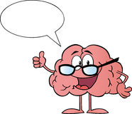 Talking Brain Character Wearing Glasses Royalty Free Stock Photo