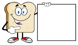 Talking Bread Slice Cartoon Mascot Character Pointing To A Blank Sign Royalty Free Stock Photos
