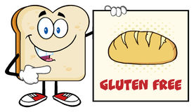 Talking Bread Slice Cartoon Mascot Character Pointing To A Sign Gluten Free Royalty Free Stock Images