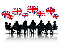 Talking British Business People Silhouettes Stock Photo