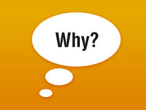 Talking bubble. Orange talking bubble with asking why Royalty Free Stock Photo