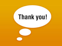 Talking bubble with thanking. Orange talking bubble with thanking Stock Image