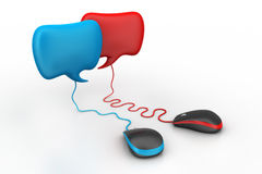 Talking bubbles connected with mouse. Social network Concept Stock Photo