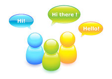 Talking buddies. Chat buddies with speech bubbles Royalty Free Stock Photo