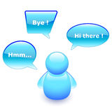 Talking buddy. Chat buddy with speech bubbles stock illustration