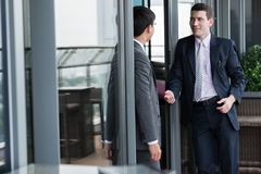 Talking business colleagues Stock Images