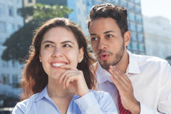 Talking business team in the city Royalty Free Stock Images