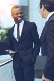 Talking about business. Stock Photo