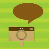 Talking camera character. And film background Royalty Free Stock Image