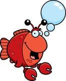 Talking Cartoon Imitation Crab. A cartoon illustration of a fish dressed as a crab talking Royalty Free Stock Photo