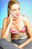 Talking cell phone Royalty Free Stock Images