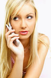 Talking cell phone Royalty Free Stock Photo