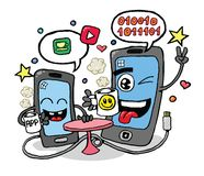 Talking cell phones vector stock illustration