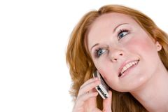 Talking on the cellphone Stock Images