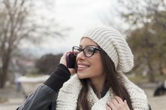 Talking on cellphone Stock Photography