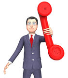 Talking Character Shows Phone Call And Business 3d Rendering. Call Talking Indicating Business Person And Debate 3d Rendering Royalty Free Stock Photography