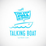 Talking Cloud and Sailing Boat Concept Vector Royalty Free Stock Photos