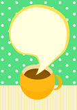 Talking Coffee cup invitation card. Invitation card with chocolate, tea or coffee cup with steam in a bubble speech shape royalty free illustration