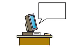 Talking Computer - illustration. Show instructions to the user - Vector illustration Vector Illustration
