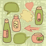 Talking cosmetics bottle Royalty Free Stock Photography