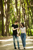 Talking couple in a walk in the park. Outdoor photo. Happy relationship Royalty Free Stock Images