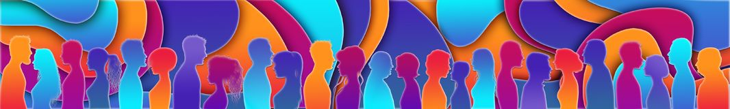 Talking crowd. Dialogue between people. Colored silhouette profiles. People talking. Communication. People of different cultures vector illustration