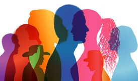 Talking crowd. Dialogue between people. People talking. Colored silhouette profiles. Multiple exposure vector. Illustration with people talking about different royalty free illustration