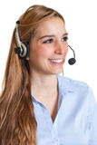 Talking customer service woman Royalty Free Stock Photography