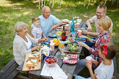 Talking by dinner Royalty Free Stock Images