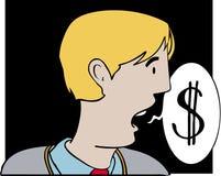 Talking dollars. Man with speech bubble talking dollars Stock Illustration