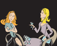 Talking and Drinking. Two nicely dressed women talking and drinking, hand drawn illustration Royalty Free Stock Photo