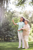 Talking with elder woman Royalty Free Stock Photo