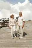 Talking elderly couple went for a walk Royalty Free Stock Photography