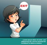 She is talking that exit door. stock illustration